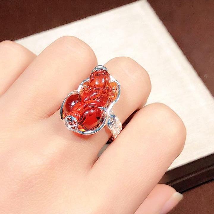 Nhẫn bạc hình tỳ hưu màu cam